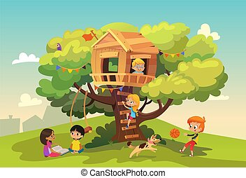 Happy multiracial boys and girls playing and having fun in the treehouse, kids playing with dog, and watering gun, reading book and climb ladder in the neighborhood. Detailed vector Illustration.