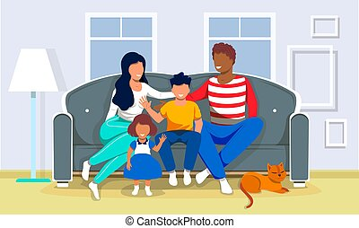 Happy multiracial family is sitting on the couch. Mom, dad, daughter, son and dog at home. Domestic Life concept. Flat cartoon vector illustration