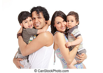 happy multiracial family of four