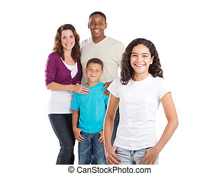 multiracial family - happy multiracial family of four studio...