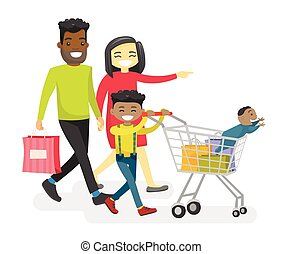 Happy multiracial family with biracial kids shopping.