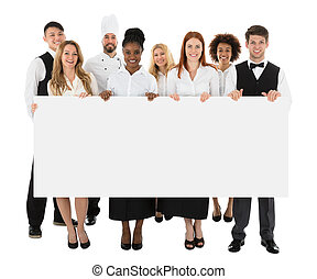 Restaurant Staff Holding Long Blank Banner
