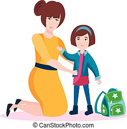 Happy mum with daughter. Flat vector illustration