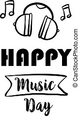 Happy music day vector illustration