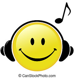 A happy Smiley Face button wears Headphones and a Musical Note symbol shows he is listening to music.