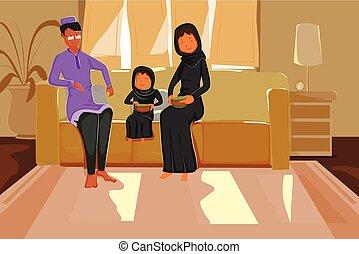 Happy muslim family celebrating Eid