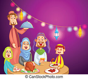 Happy muslim family enjoying iftar for Eid celebration in vector