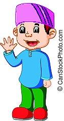 Happy Muslim kid cartoon - illustration of Happy Muslim kid...