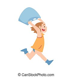 Happy Naughty Little Girl Running with Pillow Cartoon Style Vector Illustration