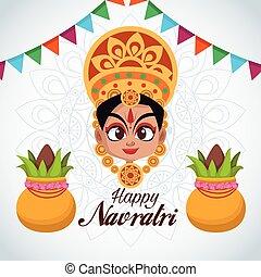 happy navratri celebration card lettering with goddess