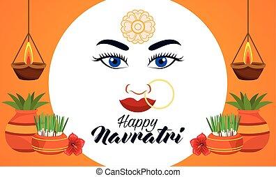 happy navratri celebration card with beautiful goddess face and houseplants