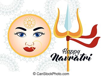 happy navratri celebration card with beautiful goddess face and trident