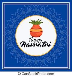 happy navratri celebration card with houseplant