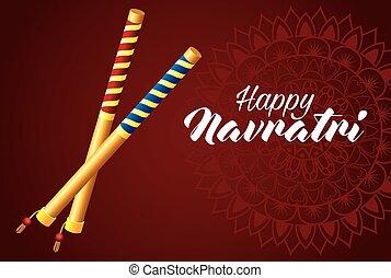 happy navratri celebration card with sticks