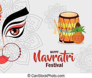 happy navratri celebration poster, face durga and decoration