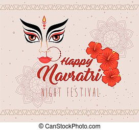 happy navratri celebration poster with durga face and flowers decoration