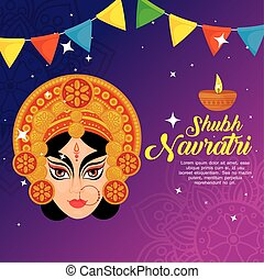 happy navratri celebration poster with durga face and garlands decoration