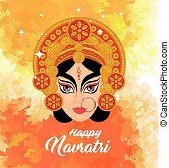 happy navratri celebration poster with durga face