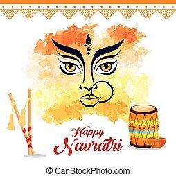 happy navratri celebration poster with face of durga