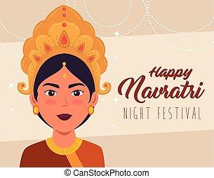 happy navratri celebration poster with maa durga decoration