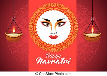 happy navratri celebration with goddess amba face and candles