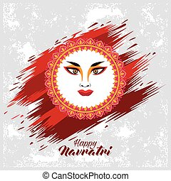 happy navratri celebration with goddess amba face and lettering
