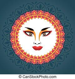 happy navratri celebration with goddess amba face in mandala
