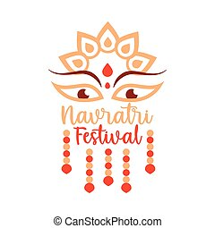 happy navratri indian celebration, goddess durga culture decoration flat style icon