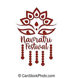 happy navratri indian celebration, goddess durga culture decoration silhouette style icon