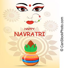 Happy Navratri vector illustration. Contour of Maa Durga Face and pot with coconut on abstract background