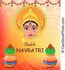 Happy Navratri vector illustration. Maa Durga Face and pots with coconut on abstract background