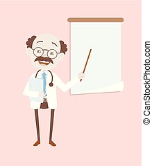 Happy Neurologist Presenting in Presentation Board Vector
