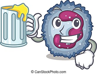 Happy neutrophil cell mascot design with a big glass. Vector...