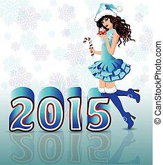 Happy New 2015 Year card with Santa