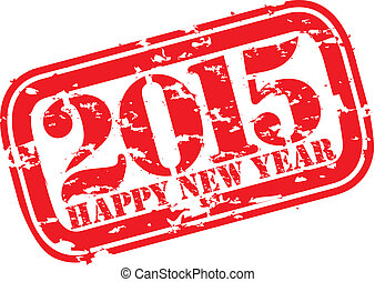 Happy new 2015 year grunge rubber stamp, vector illustration