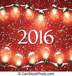Happy New 2016 Year. Christmas Lights.