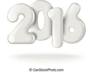 Happy new 2016 year. Realistic 3D numbers