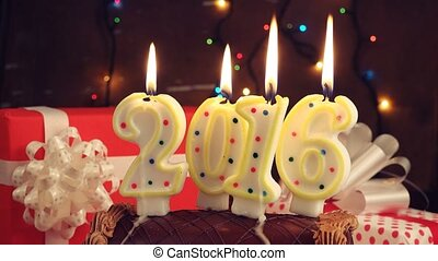 Happy New 2016 Year, romantic candle light with chocolate...