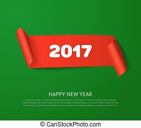 Happy New 2017 Year paper roll banner with realistic shadow....