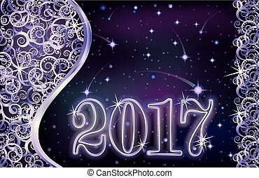 Happy new 2017 year silver card, vector illustration