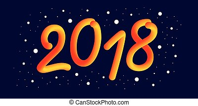 Happy new 2018 year. 3d gradient 2018 number and cool wave with particles and snowflakes. Festive element for holiday new year design. Liquid colors. Winter poster design.
