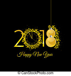 happy new 2018 year gold with clock illustration