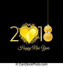happy new 2018 year gold with heart illustration