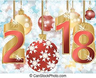 Happy New 2018 year golden card, vector illustration
