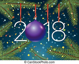 Happy New 2018 year. Greeting card design template with branches