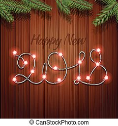 Happy new 2018 year. Vector greeting card with garland