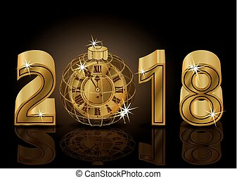 Happy New 2018 year with golden clock background, vector illustration