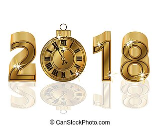 Happy New 2018 year with golden clock, vector illustration