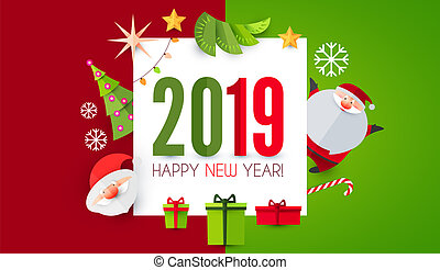 Happy New 2019 Year Cute Paper Art Design. Vector illustration