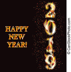 Happy New 2019 Year fire banner, vector illustration